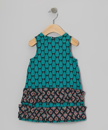 Teal Pinecone Ruffle Swing Dress - Infant, Toddler & Girls