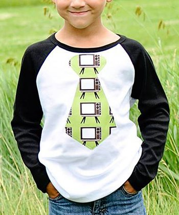 Black & Green Retro TV Tie Raglan Tee - Toddler & Boys
