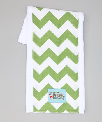 Green & White Chevron Burp Cloth