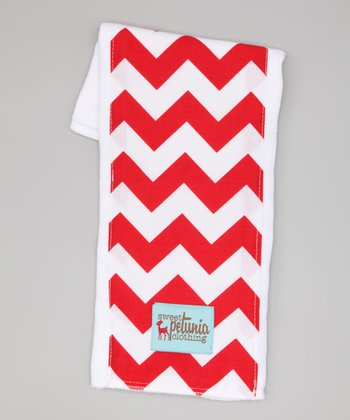 Red & White Chevron Burp Cloth