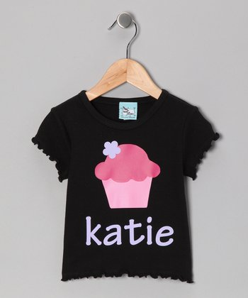 Black Cupcake Personalized Tee - Infant, Toddler & Girls
