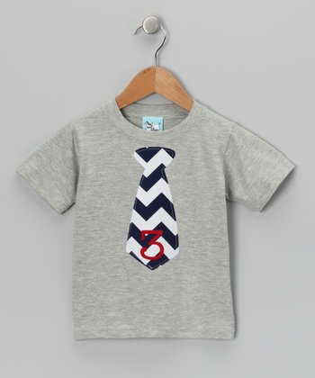 Gray & Navy Chevron Number Tie Tee - Infant, Toddler & Boys