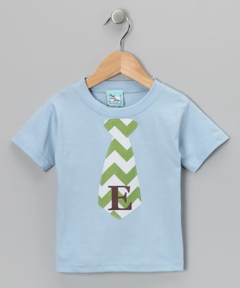 Blue Chevron Initial Tie Tee - Infant, Toddler & Boys