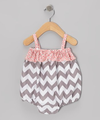 Gray Chevron Ruffle Bubble Romper - Infant