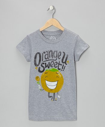 Heather Gray 'Orange U Glad' Tee - Girls