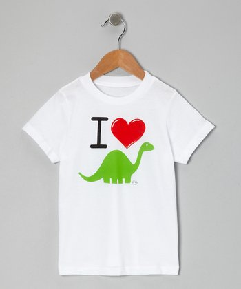 White 'I Love Dino' Tee - Toddler & Kids