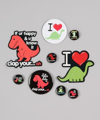 Dinosaur Button & Sticker Set