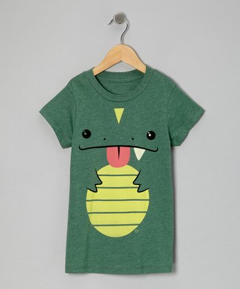 Heather Green Cute Reptile Tee - Kids