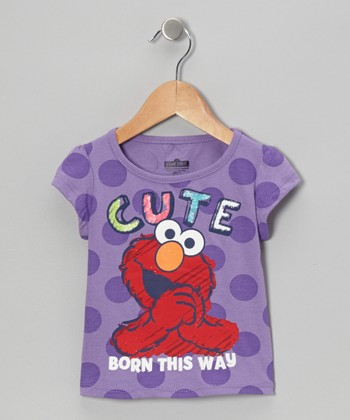 Purple Polka Dot 'Cute' Elmo Tee - Toddler