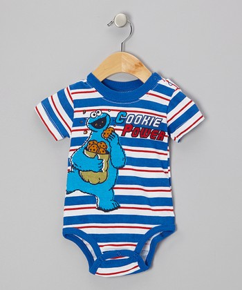Blue & Red Stripe 'Cookie Power' Bodysuit - Infant