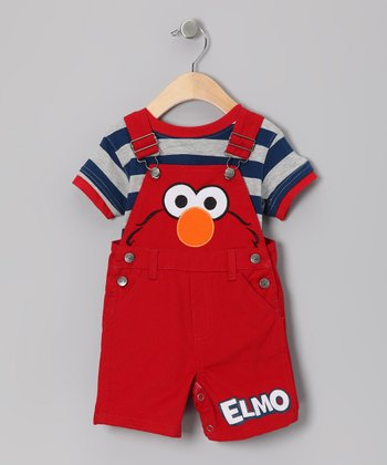 Red & Blue Stripe 'Elmo' Tee & Shortalls - Infant