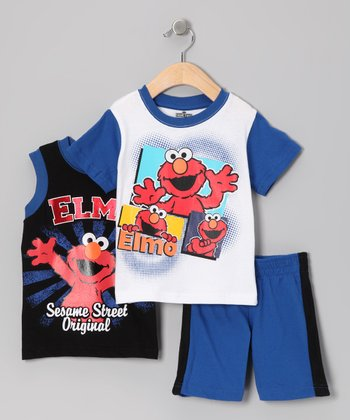 White & Navy Elmo Shorts Set - Infant