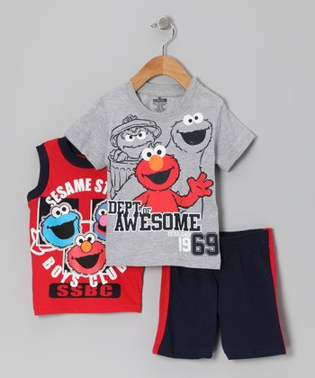 Gray & Red 'Awesome' Elmo Shorts Set - Infant