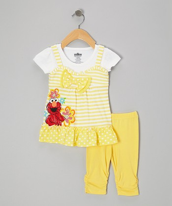 Yellow & White Elmo Layered Tunic & Leggings - Infant