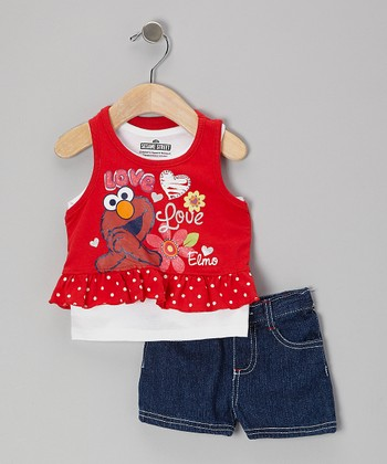 Red Elmo Layered Skirted Tank & Shorts - Infant