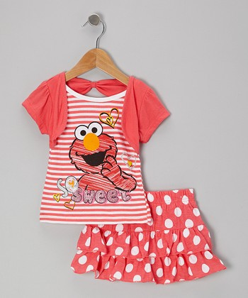 Coral Polka Dot Elmo Bolero Tee & Skirt - Toddler