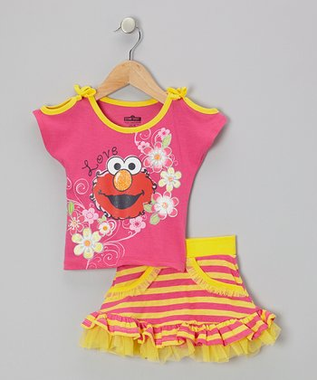 Pink & Yellow Stripe Elmo Tee & Skirt - Toddler