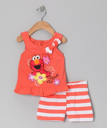 Coral Stripe Elmo Ruffle Yoke Top & Shorts - Infant