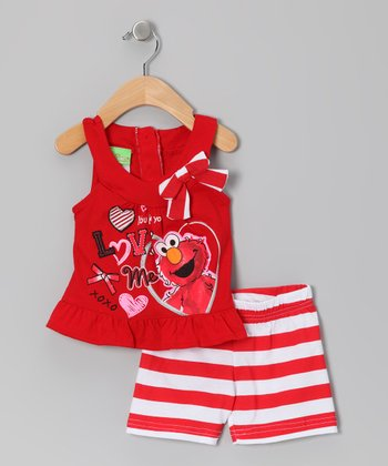 Red Stripe 'Love' Elmo Yoke Top & Shorts