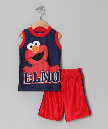 Navy & Red 'Elmo' Tank & Shorts - Toddler