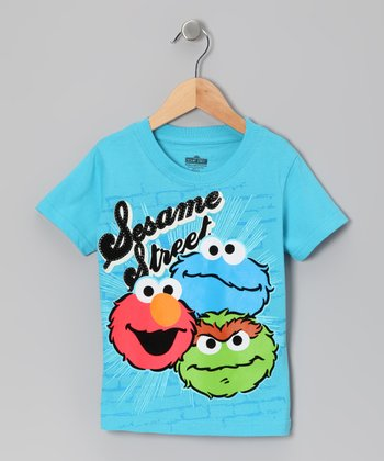 Light Blue 'Sesame Street' Trio Tee - Toddler