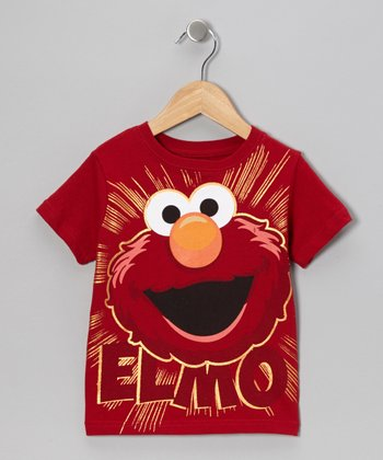Red 'Elmo' Bright Face Tee - Toddler