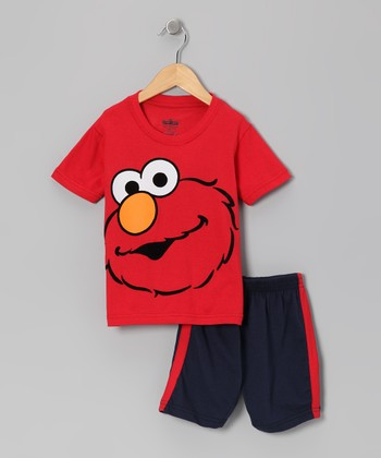 Red & Navy Elmo Face Tee & Shorts - Toddler