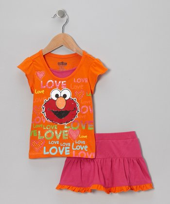 Orange & Pink Elmo Tee & Skirt - Toddler