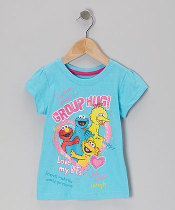 Blue 'Group Hug' Big Bird Tee - Toddler