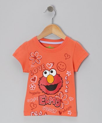 Orange & Red Elmo Face Tee - Toddler