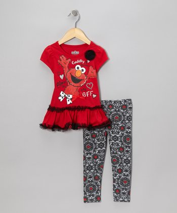 Red & Gray Skirted Elmo Tee & Leggings - Infant & Toddler