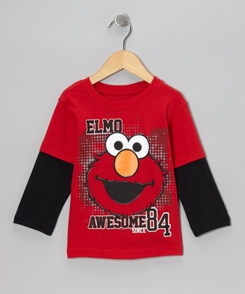 Red & Black 'Awesome' Elmo Layered Tee - Toddler