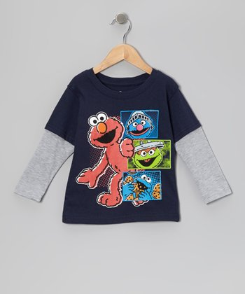 Navy & Gray Elmo & Gang Layered Tee - Toddler