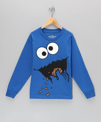 Blue Cookie Monster Long-Sleeve Tee - Kids