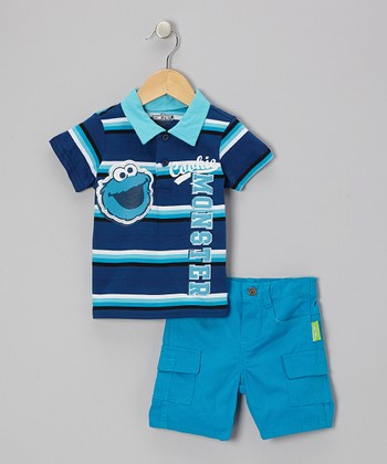 Blue Stripe Cookie Monster Polo & Cargo Shorts - Infant
