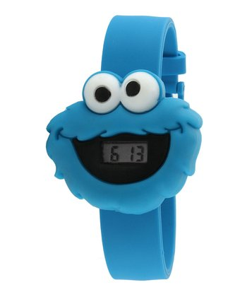 Blue Cookie Monster Face LCD Watch