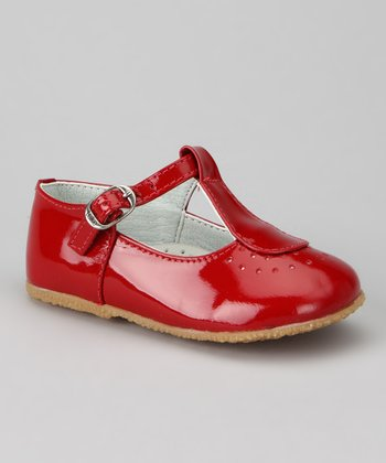 Red Patent T-Strap Shoe