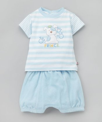 absorba - Light Blue Stripe Dog Outfit 3 month