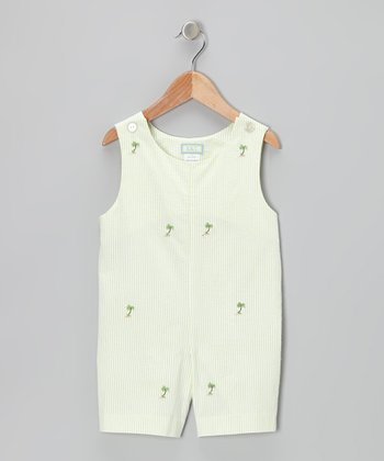 K&L Light Green Palm Tree Seersucker Shortalls - Infant & Toddler