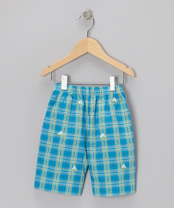 K&L Blue Plaid Sailboat Shorts - Toddler & Boys