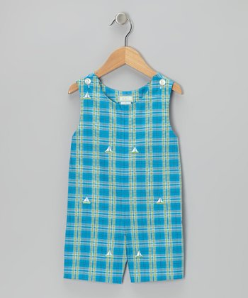 K&L Blue Plaid Sailboat Shortalls - Infant & Toddler
