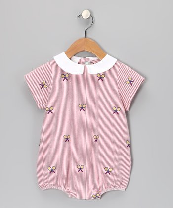 K&L Red Racket Seersucker Bubble Romper - Infant