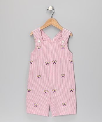 K&L Red Racket Seersucker Shortalls - Infant & Toddler