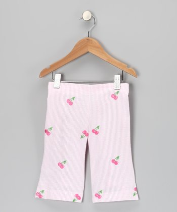 Pink Cherry Seersucker Capri Pants - Girls