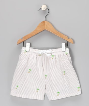 White Palm Tree Seersucker Swim Trunks - Infant & Boys