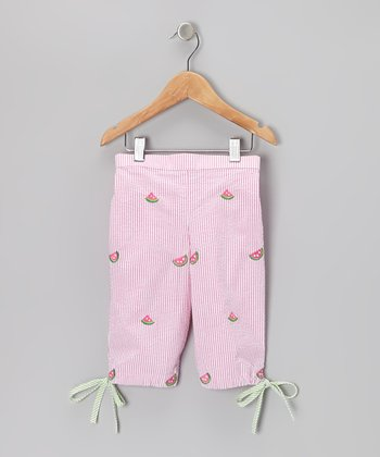 K&L Pink Stripe Watermelon Seersucker Capris - Infant & Toddler