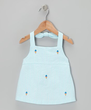 K&L Light Blue Ice Cream Seersucker Halter Top - Infant & Toddler