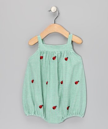 Green Ladybug Seersucker Bubble Bodysuit - Infant