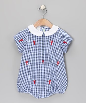 Blue Gingham Lobster Bubble Bodysuit - Infant