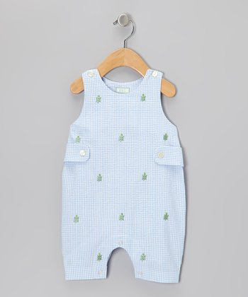 Blue Turtle Seersucker Shortalls - Infant